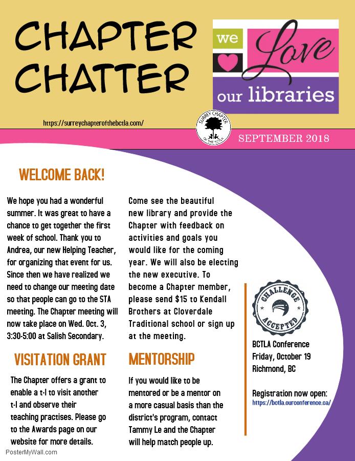 Chapter Chatter September 2018